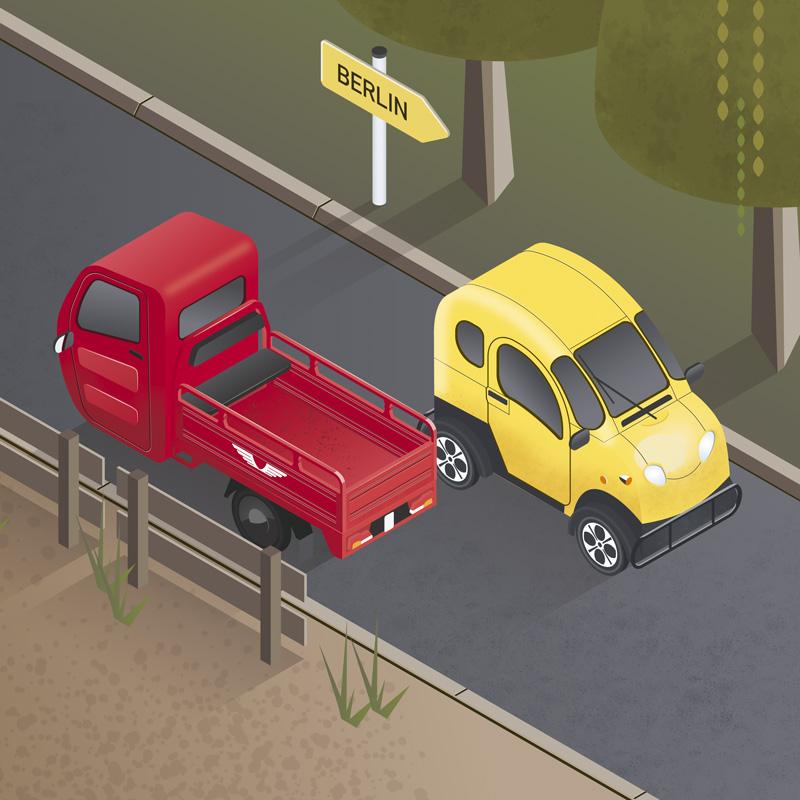 Isometrische illustration Elektrische Kleintransporter