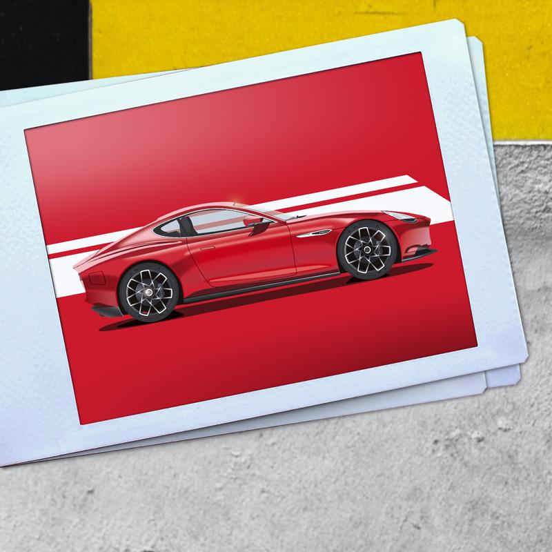 Roter Sportwagen 2D Illustration auf einem Polaroid