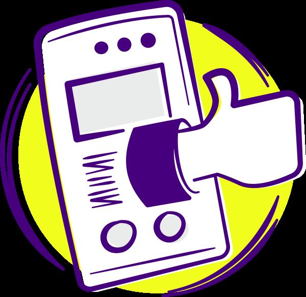 Illustration eines Handys mit Daumen hoch